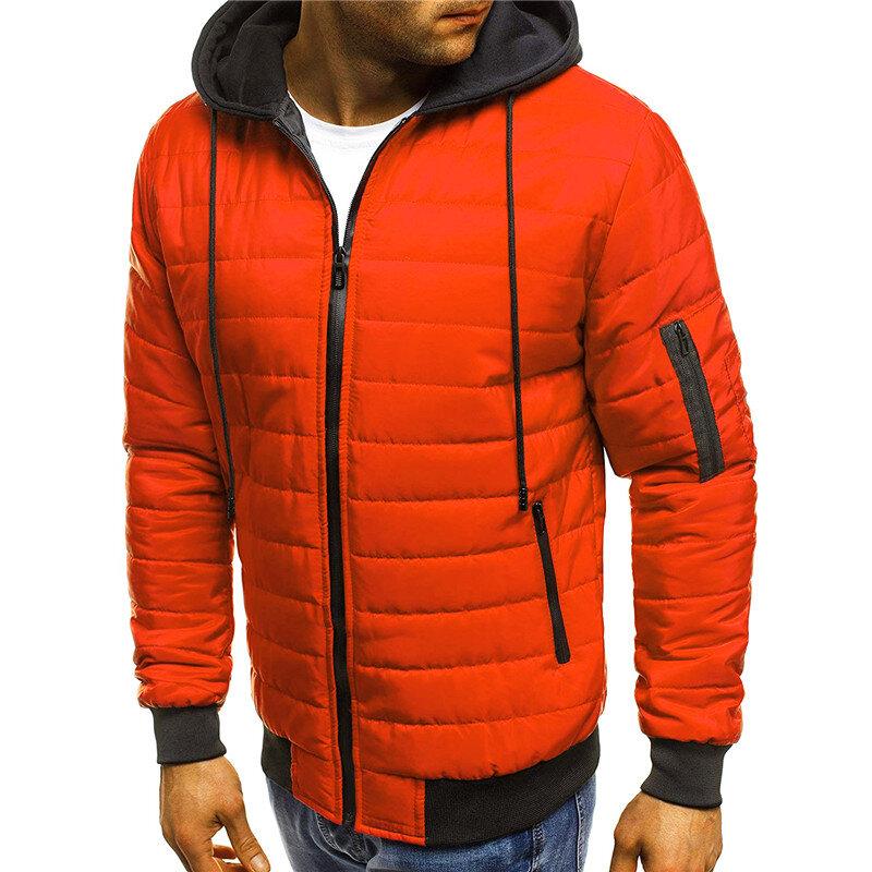 Heren gewatteerde gewatteerde jas contrasterende kleur Hooded Winter Warm bovenkleding jassen - 6