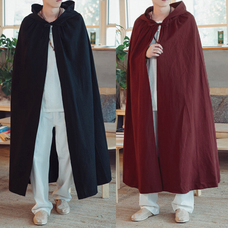 Mens Fashion Solid Color Hooded Casual Trench Coats - 1