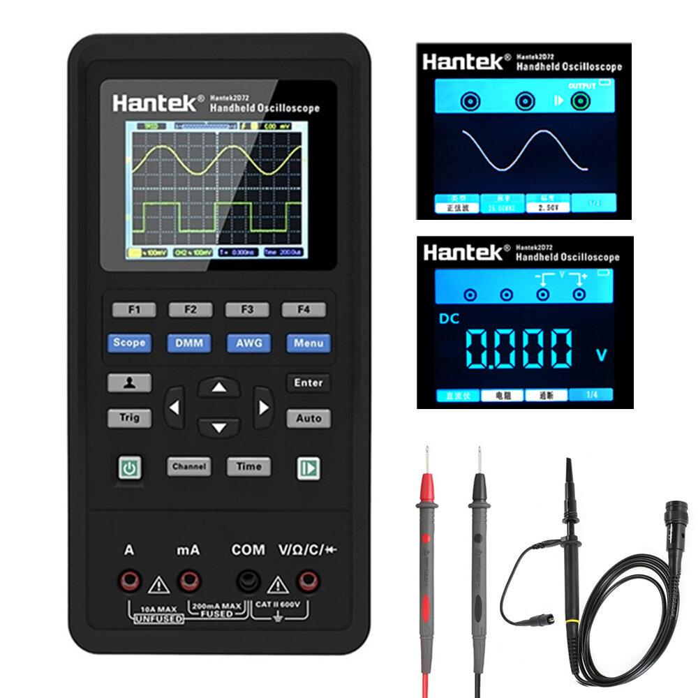 Hantek 3in1 Digital Oscilloscope+Waveform Generator+Multimeter Portable USB 2 Channels 40mhz 70mhz L
