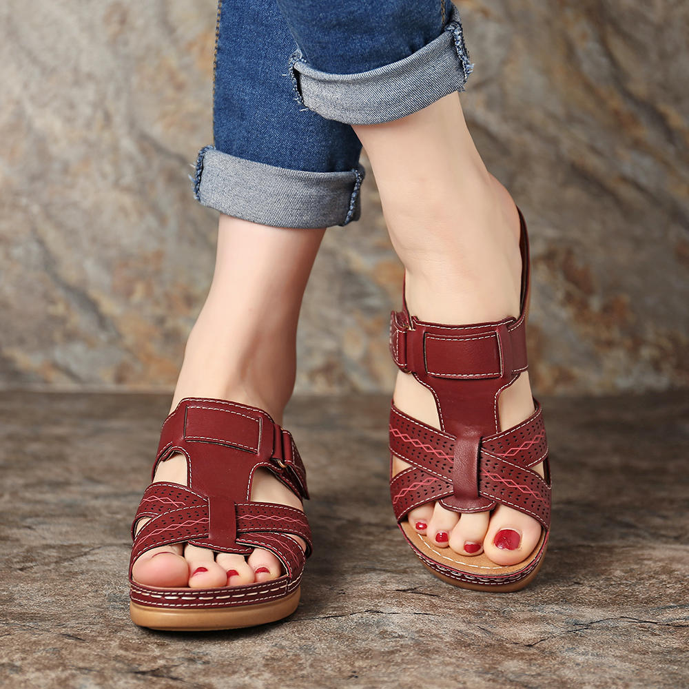 Women Large Size Hollow Out Solid Color Casual Slingback Summer Roman Flat Sandals - 3