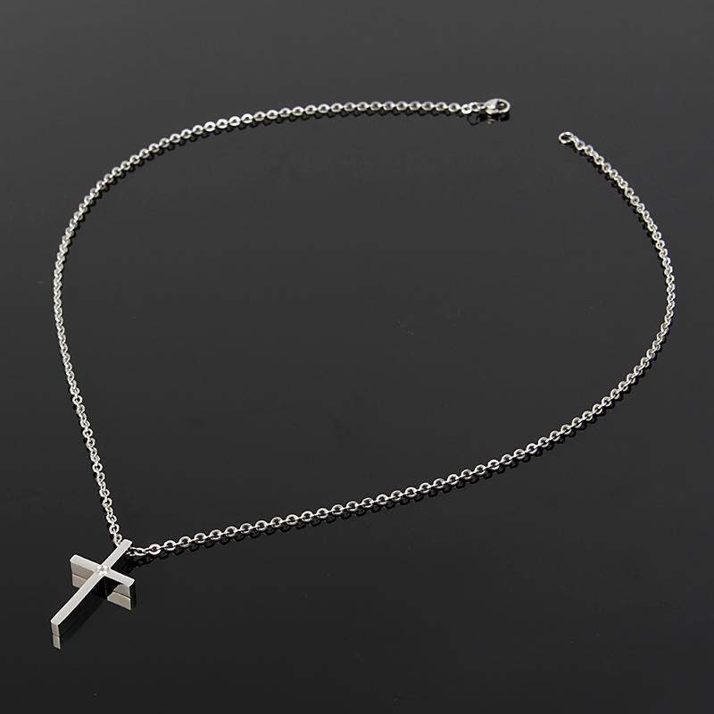 Silver Smooth Simple Cross O Shape Necklace Chain Couple Gifts For Women Men - 3