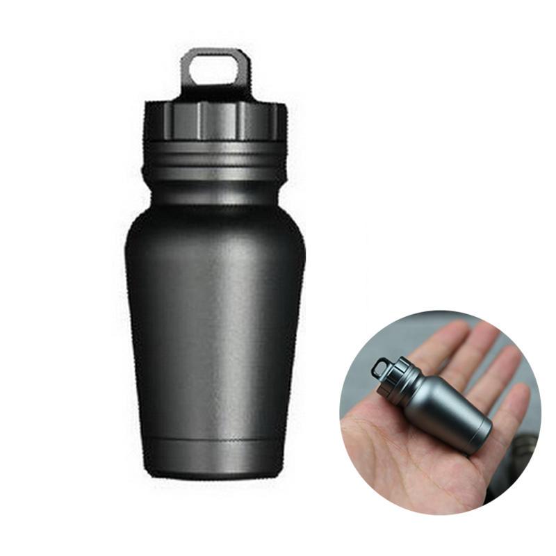 ACHIOOWA Aluminum Alloy EDC Portable Survival Pill Capsule Sealing Storage Tank Outdoor Waterproof Box - 1