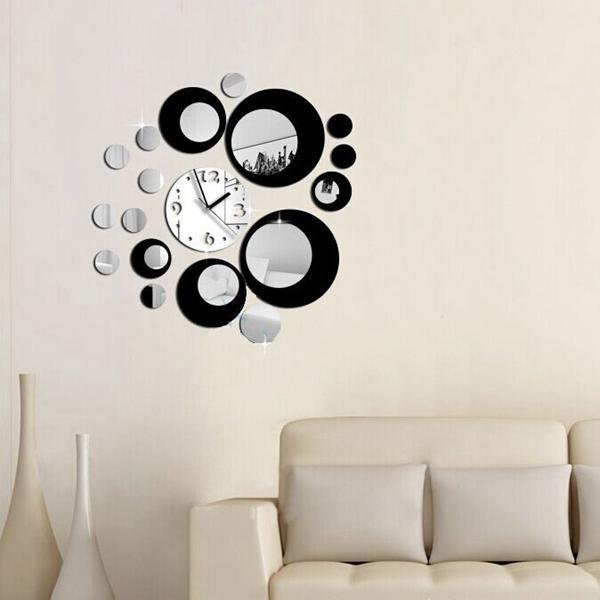 Honana DX-X6 Creative 3D Acrylic Mirror Wall Sticker Quartz Clocks Watch Large Home Decor