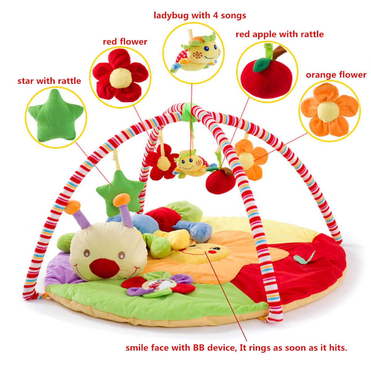 Baby Musical Play Mat Gratis Tummy Time Caterpillar Soft Toy Premium Baby Play Mat - 9