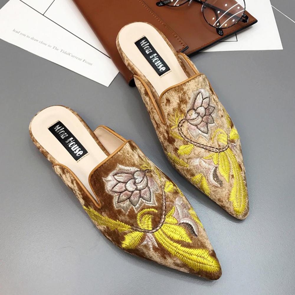 Folkways Muller Sandalias Suede bordado floral zapatillas