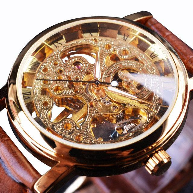 WIN358-5 Business Style Men Watch Transparent Golden Case Self-Wind Mechanical Watch