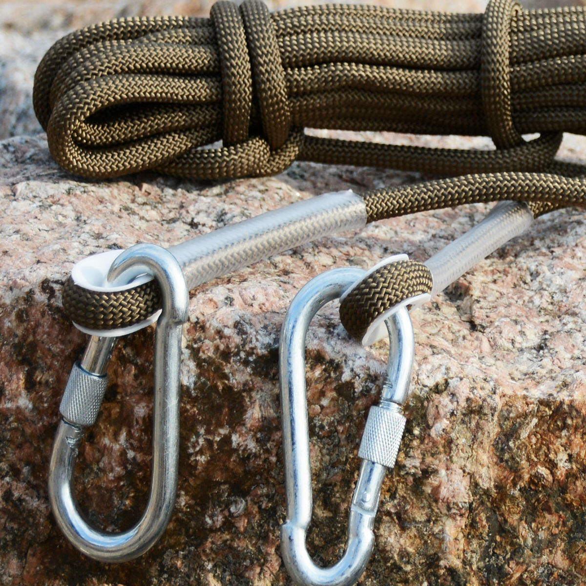2 Carabiners 10m Army Green Tree Rock Climbing Rescue Auxiliary Rope Cord