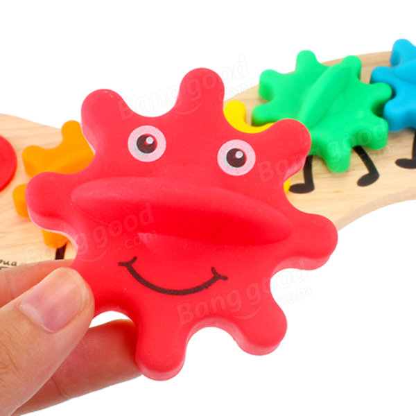 Kids Colorful Gear Caterpillar Toy Kinderen Wooden Puzzle Twisting Educational Toys - 3