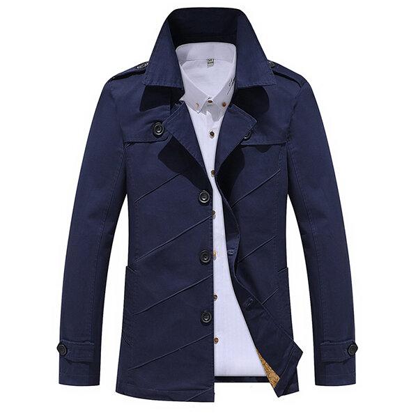 पुरुषों टर्न-डाउन कॉलर ट्रेंच कोट ठोस रंग फैशन कपास धोया एकल-ब्रेस्सेट जैकेट