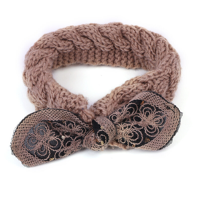 Women Earmuffs Handmade Knitted Bow Hair Band Good Elastic Headband - 5