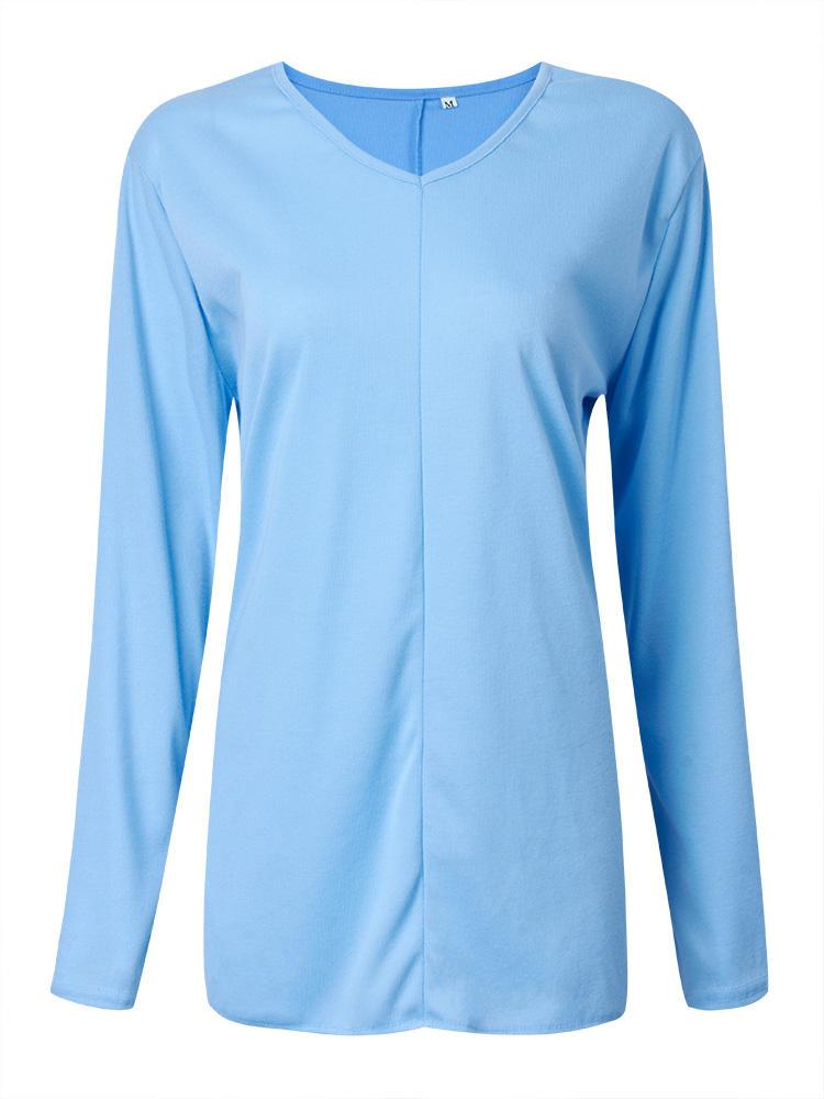 असममित लूज ब्लू लांग आस्तीन वी गर्दन महिला टी शर्ट