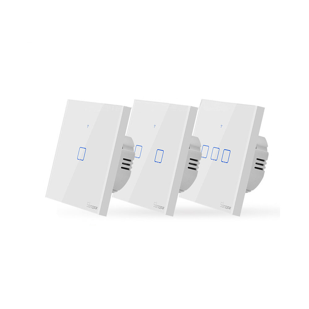 SONOFF® T0 EU / US / UK AC 100-240 V 1/2/3 Geng TX Seri WIFI Dinding Switch Smart Wall Sentuh Light Switch Untuk Smart Home Bekerja Dengan Alexa Google Home