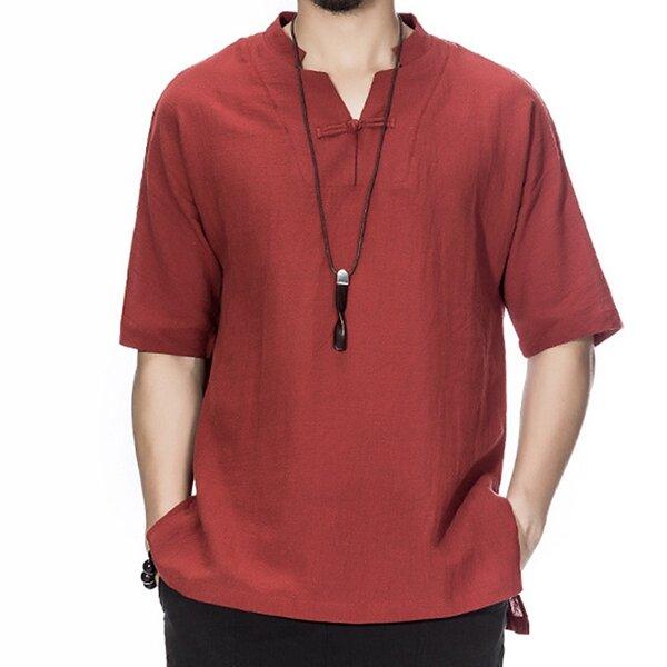 Charmkpr גברים סינית סגנון כותנה פשתן חולצת טריקו קצר חולצת טריקו צווארון Loose Vintage חולצת טי