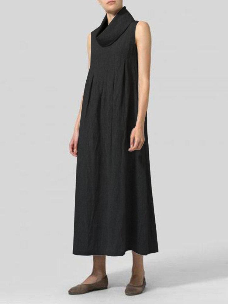 ヴィンテージ女性コットンルーズソリッドカラーノースリーブタートルネックドレス