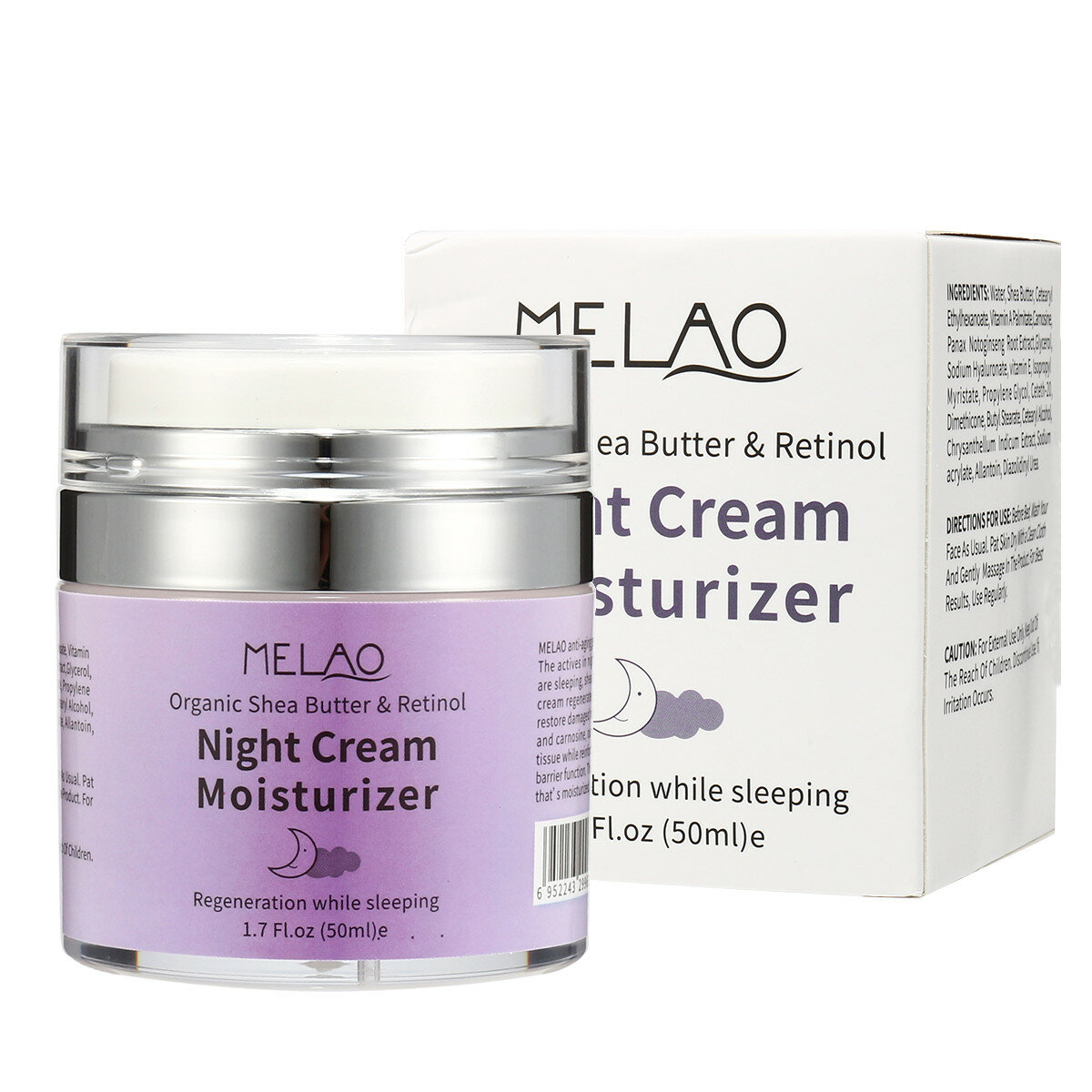 Melao Organic Shea Butter Retinol Night Cream Moisturizer Sleeping Facial Skincare 50ml