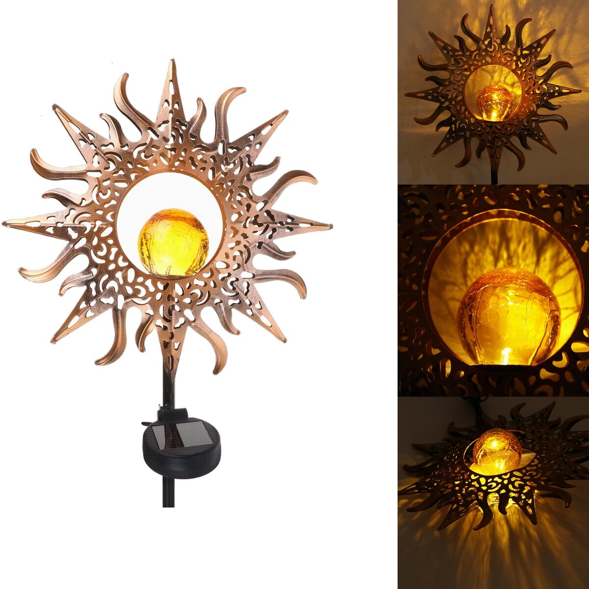 Outdoor Wrought Iron Ground Plug Solar Lawn Lamp Golden Sun Retro Hollow Courtyard Landscape Projection Lamp