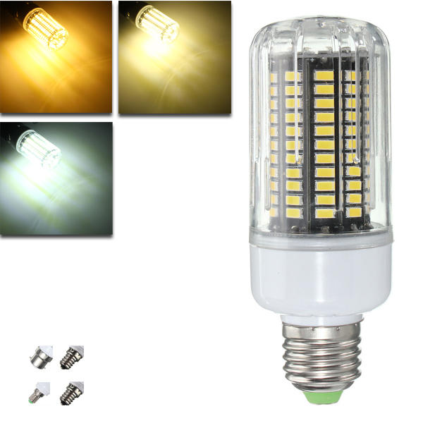 E27 E14 E12E E17 B22 15W 130 SMD 5736 LED Pure White Warm White Cover Corn Bulb AC85 265V - 1