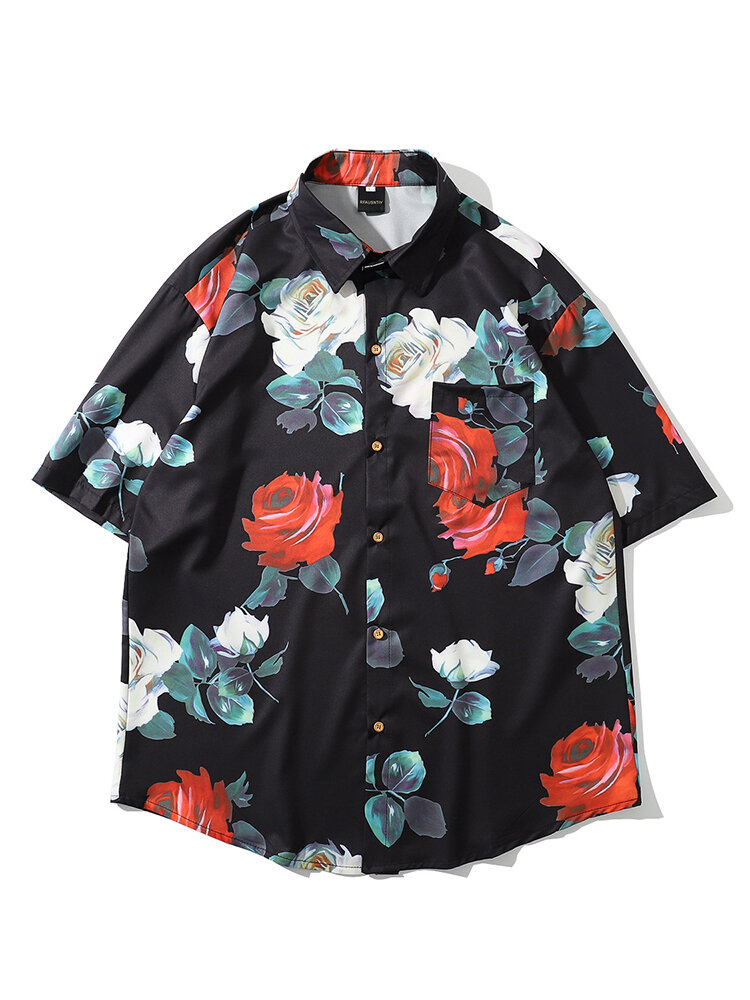 Mens Fashion Rose Printing Breathable Shirts - 9