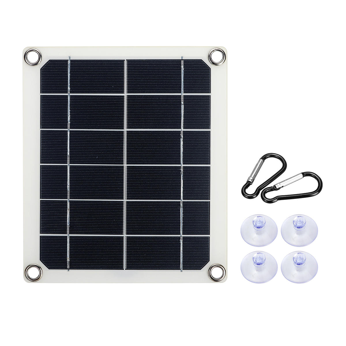 5W 5V Semi-Flexible Monocrystalline Solar Panel with Junction Box Dual USB Charger + 4xSucker + 2xCarabiner Kit for Outdoor Charger