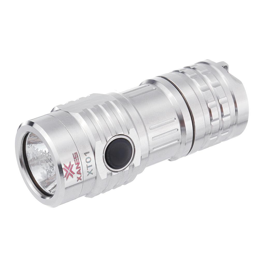 XANES XT01 XP-G3 350LM 6Modes USB có thể sạc lại bằng thép không gỉ Mini Keychain Light