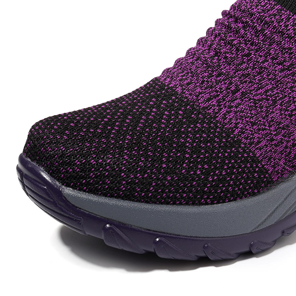 Women Lightweight Comfy Breathable Mesh Slip On Flat Sneakers - 10