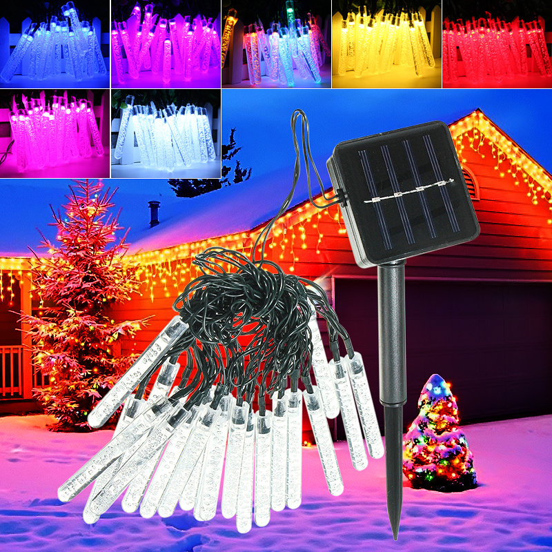 4.8M 20 LED Bubble Icicle Fairy String Light Solar Power Christmas Party Lamp COD