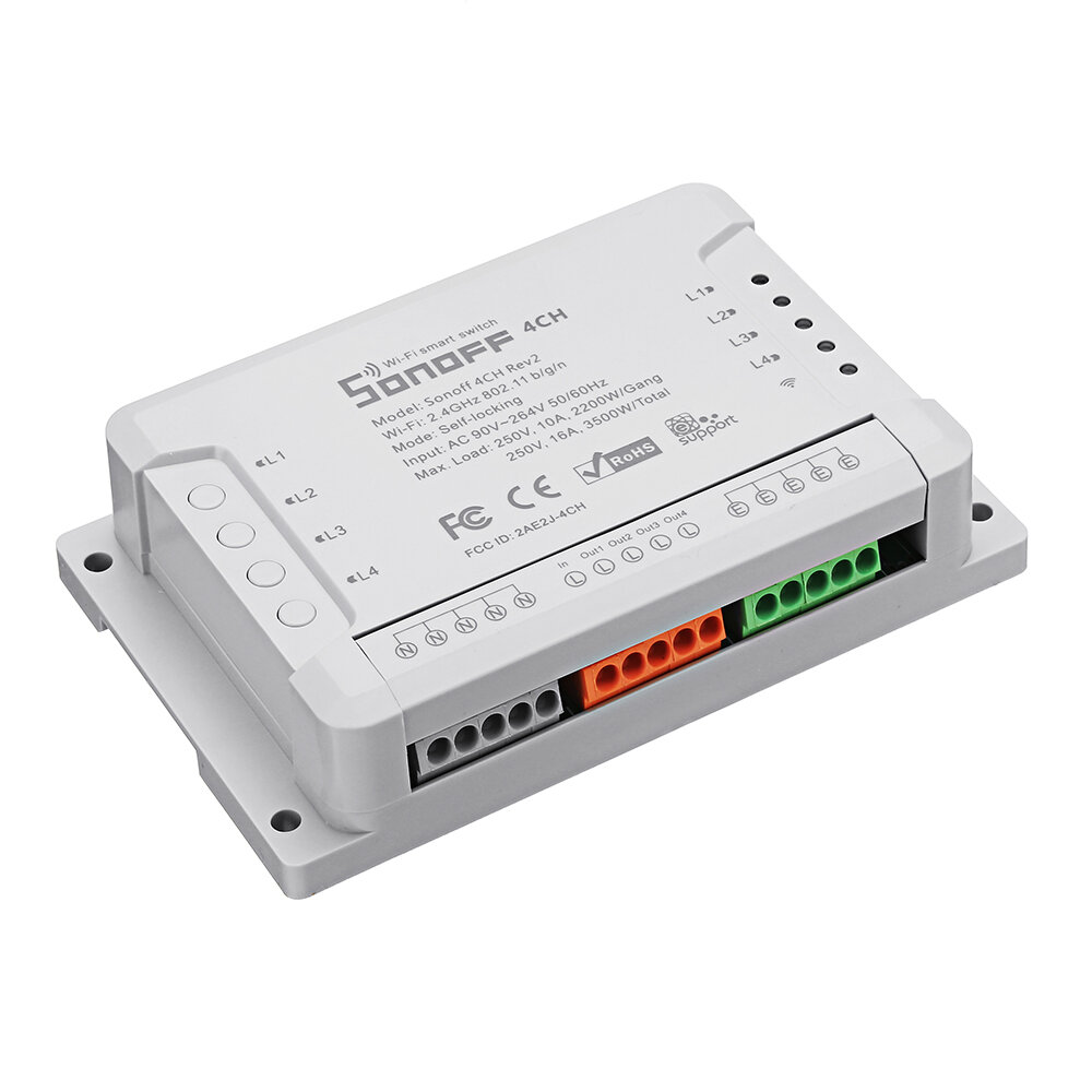 SONOFF® 4CH R2 4 Channel 10A 2200W 2.4Ghz Smart Home WIFI Wireless Switch APP Remote Control AC 90V-250V 50/60Hz Din Rail Mounting Home Automation Module