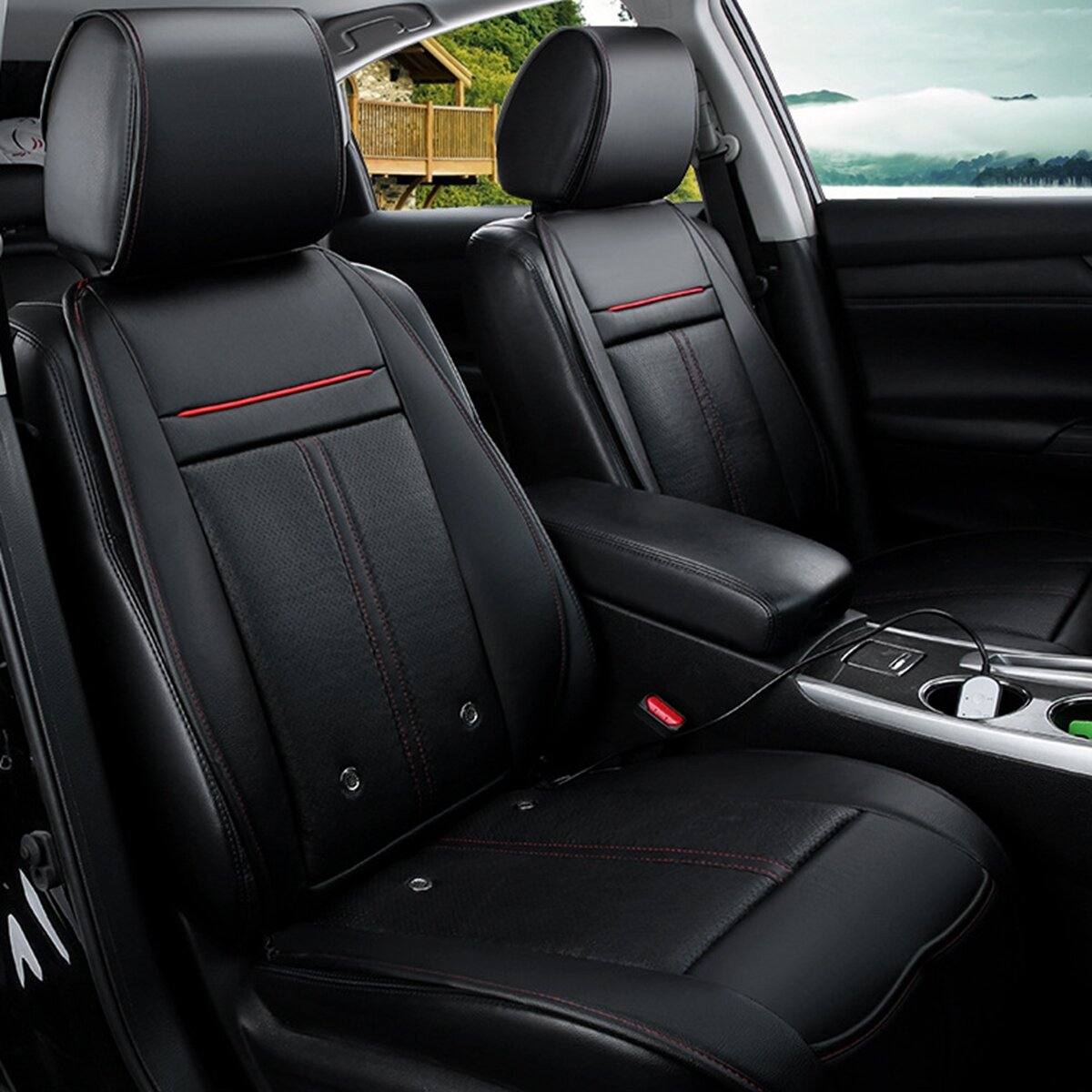 3 In 1 Leather Car Cooling Warm Heated Massage Seat Cushion Cover with 8 Fan Universal
