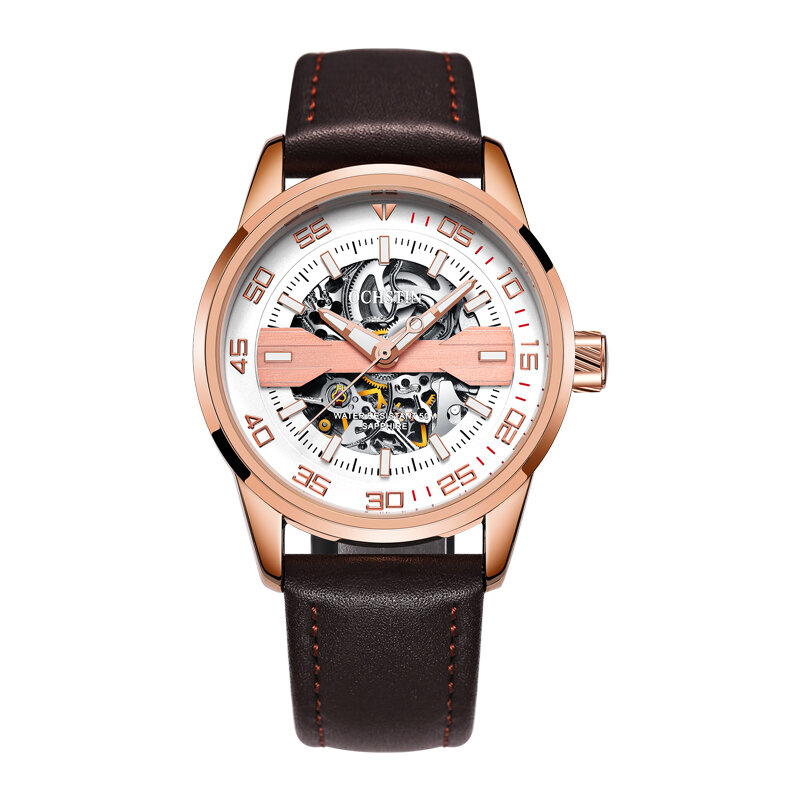 DEFFRUN Business Style Full Steel Automatic Mechanical Watch - 6