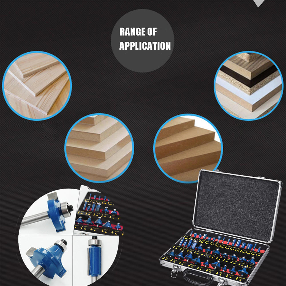 35PCS 1/4 Inch Trimming Cutter Carbide Router Bit Set Shank Carbide-tipped Woodworking Tool - 6