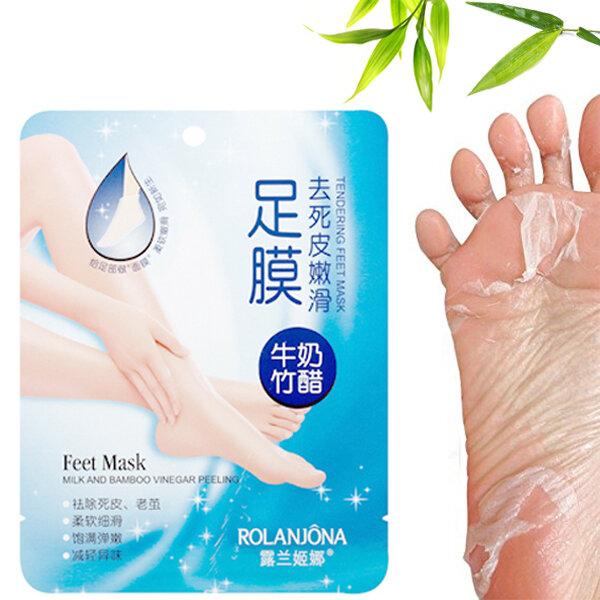 ROLANJONA Milk Bamboo Feet Mask Baby Foot Peeling Masks Deep Exfoliating Repairing Squishy