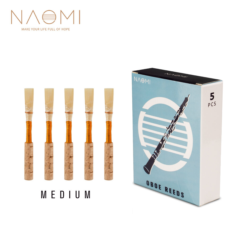 NAOMI 5Pcs/1Pack NO-01 Oboe Reed Medium Cork Reed Handmade Oboe Reed with Plastic Case/Tube for Beginners Oboe Accessori