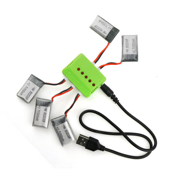 5 x 3.7V 300mAh 45C Battery With 1 to 5 Charger Eachine E55 FQ777 FQ17W