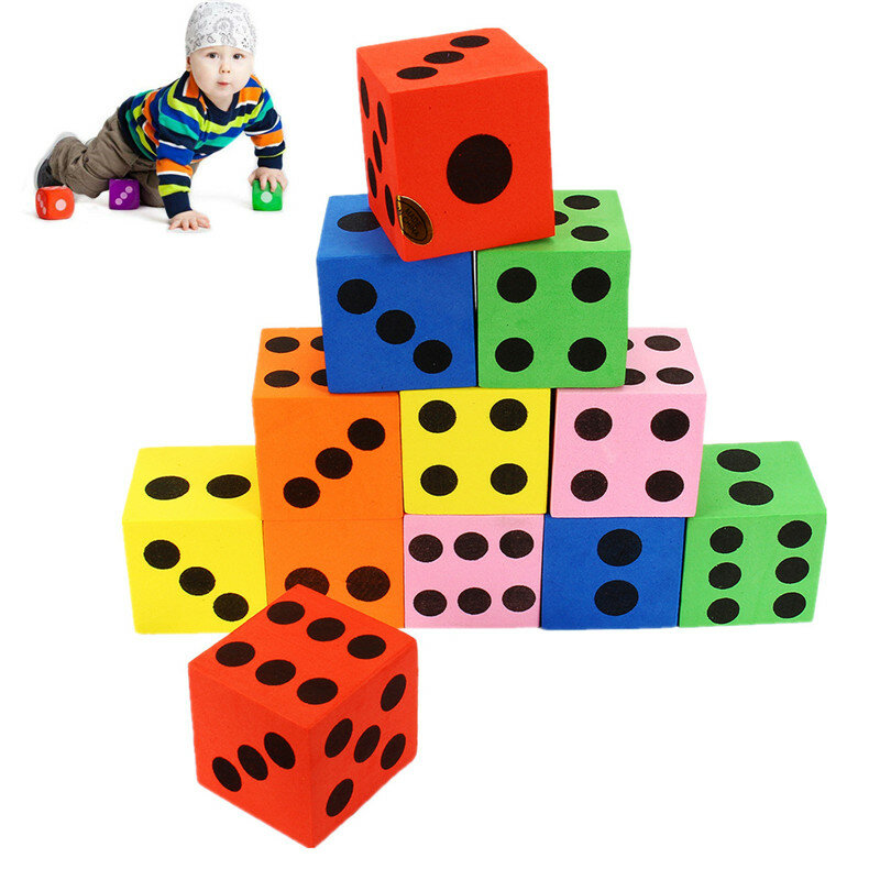 12Pcs Large Jumbo Colorful Foam Dice Kids Baby Educational Play Toy Puzzle Game - 1