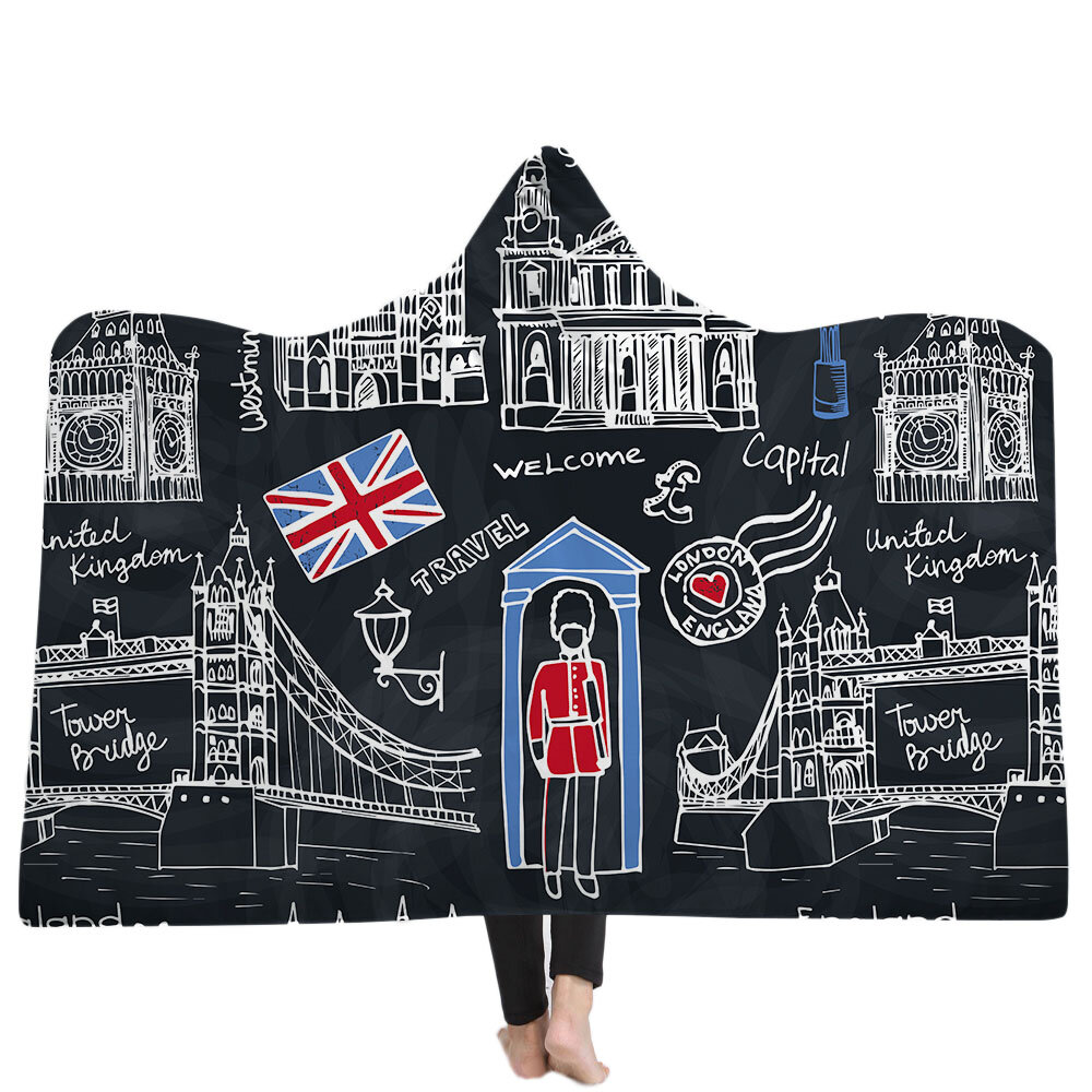 Bandera de los Estados Unidos Reino Unido Mantas con capucha Sherpa Fleece Ocean Blue Wearable Plush Throw Blankets - 4