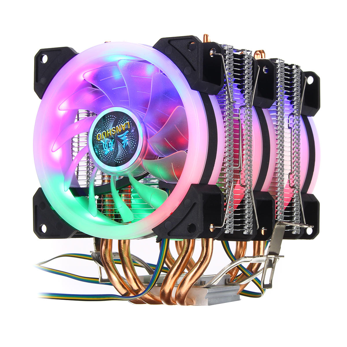4Pin Three Fans 4-Heatpipes Colorful Backlit CPU Cooling Fan Cooler Heatsink For Intel AMD