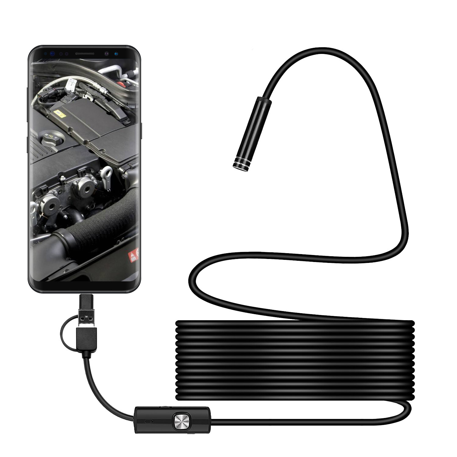 Portable Car OTG 7mm USB Endoscope Inspection Camera With 6 LED For Android 4.0
