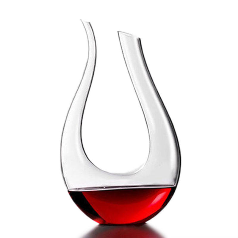 1200ml Luxurious Crystal Glass U-shaped Horn Wine Decanter Wine Pourer Red Wine Carafe Aerator