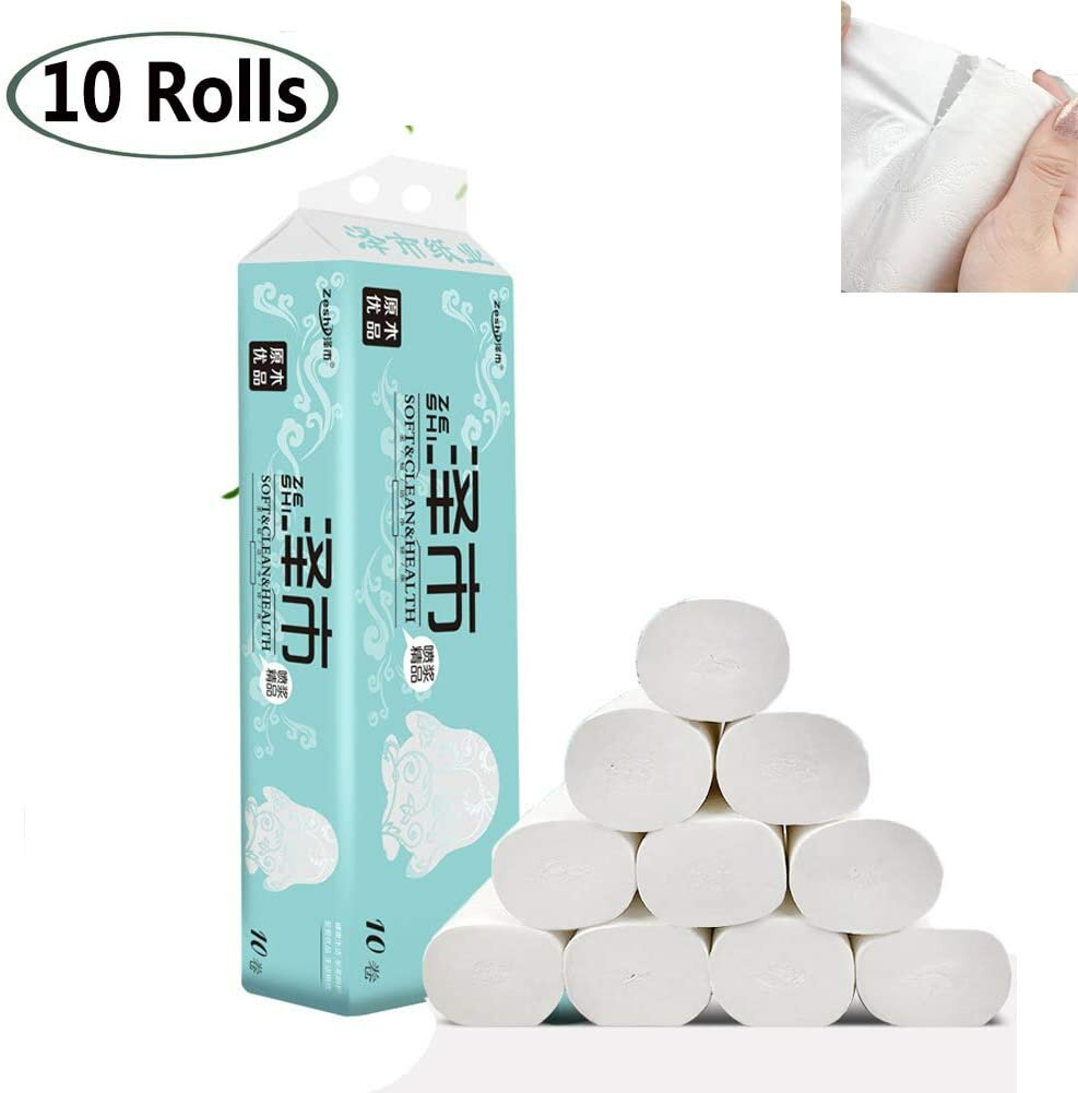 10Pcs/Bag Roll Paper Toilet Paper Soft Strong Toilet Tissue Cotton Roll Paper Household Towel Tissue Replacement Roll Paper Toilet Paper Table Kitchen Paper with Tissue Box