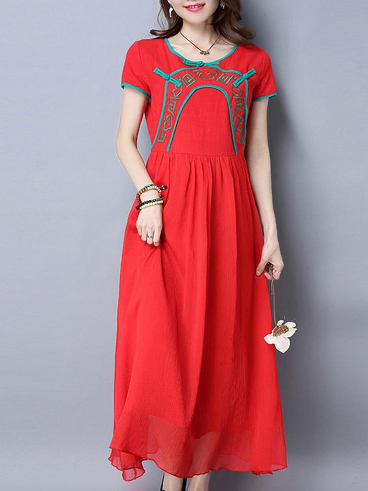 विंटेज महिला लघु आस्तीन कढ़ाई प्लेट बकल शिफॉन कपड़े