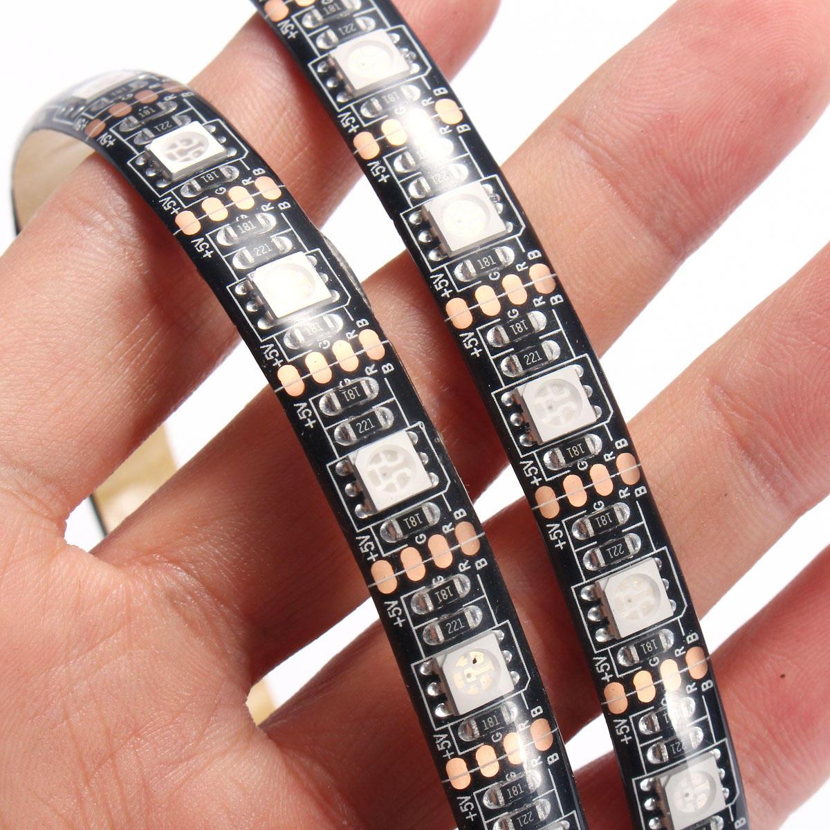 0.5 / 1/2/3/4 / 5M SMD5050 RGB Imperméable LED Kit de Rétroéclairage TV Sangle de Lumière + Télécommande USB DC5V - 12