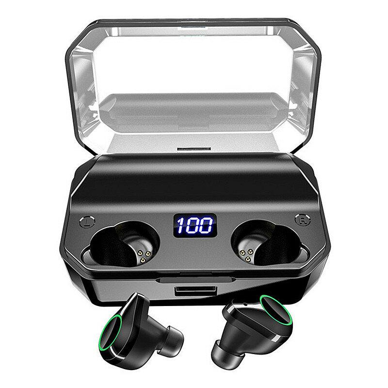 [True Wirsless] T9 Tai nghe hiển thị kỹ thuật số Tai nghe hai tai Gọi bluetooth 5.0 Tai nghe chống nước Âm thanh nổi tai nghe âm thanh nổi với 7000mAh Power Bank
