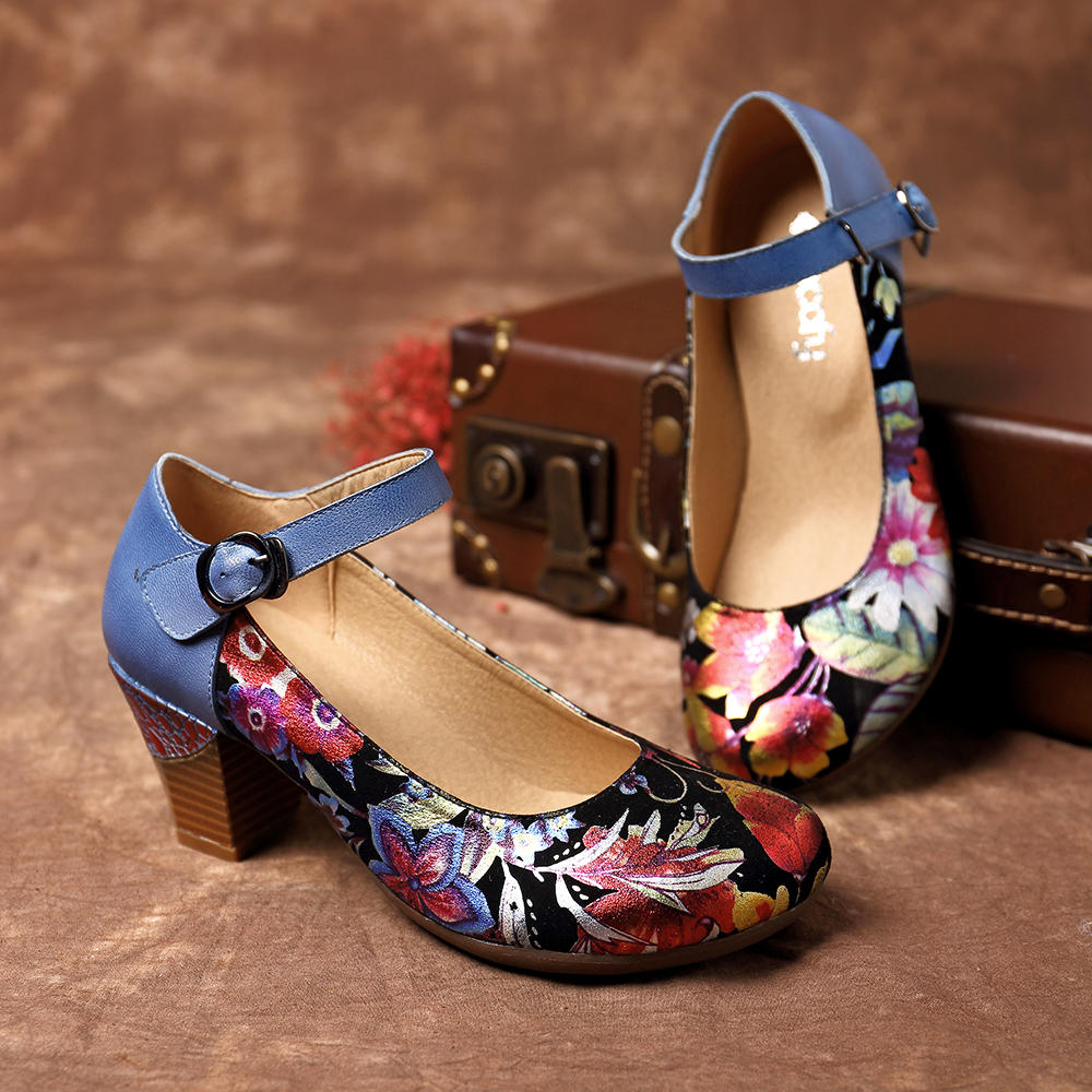 SOCOFY Genuine Leather Ankle Strap Pumps Round Toe Casual Shoes