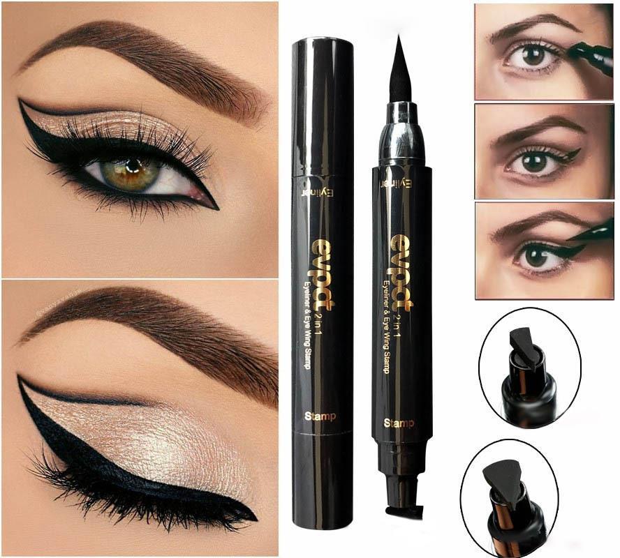 2 i 1 Black Liquid Eyeliner Wing Seal Stämpel Penna Quick Dry Vattentät Makeup