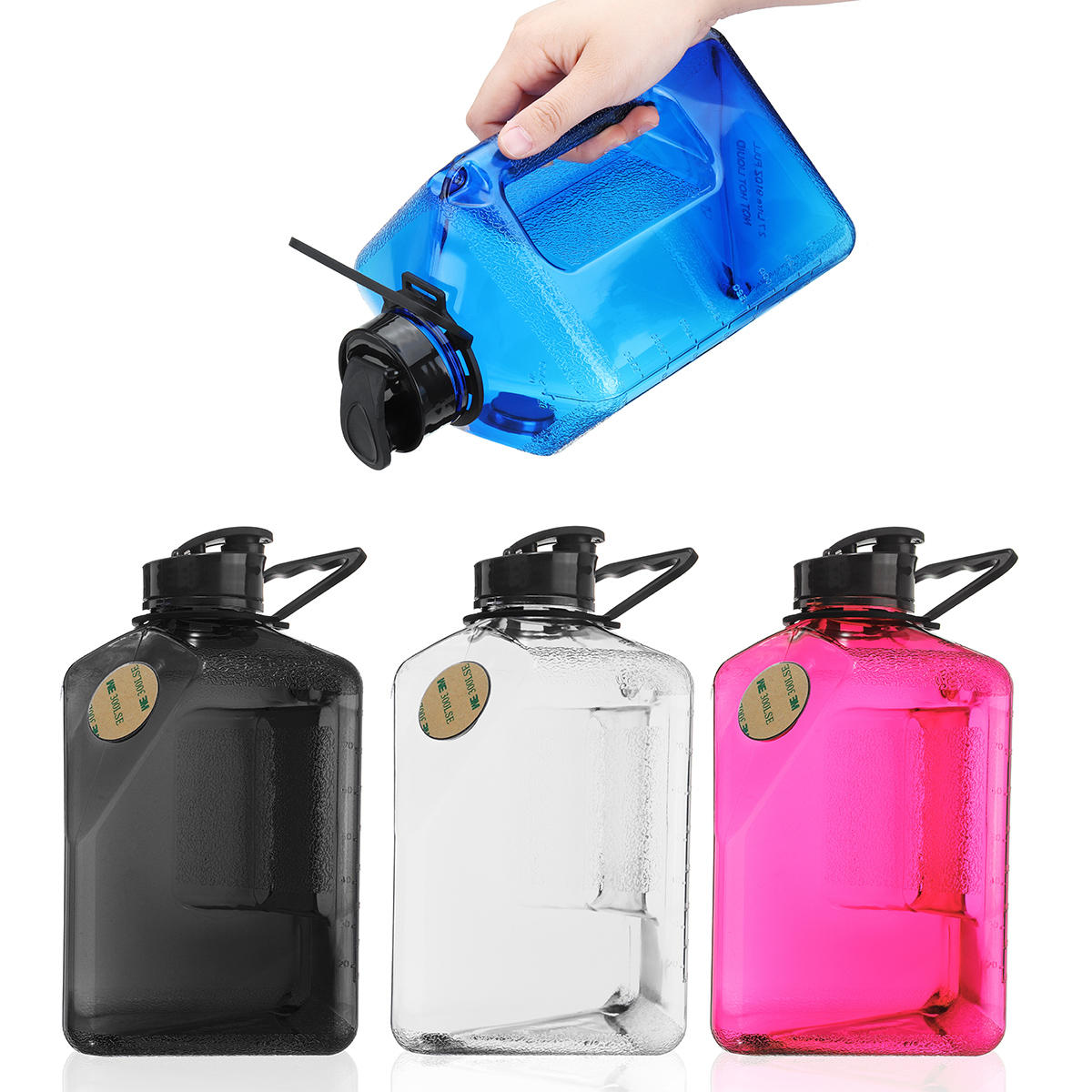 2.7L Water Bottle Sports Outdoor Plastic Camping Gym Training Cup Kettle Workout - 1