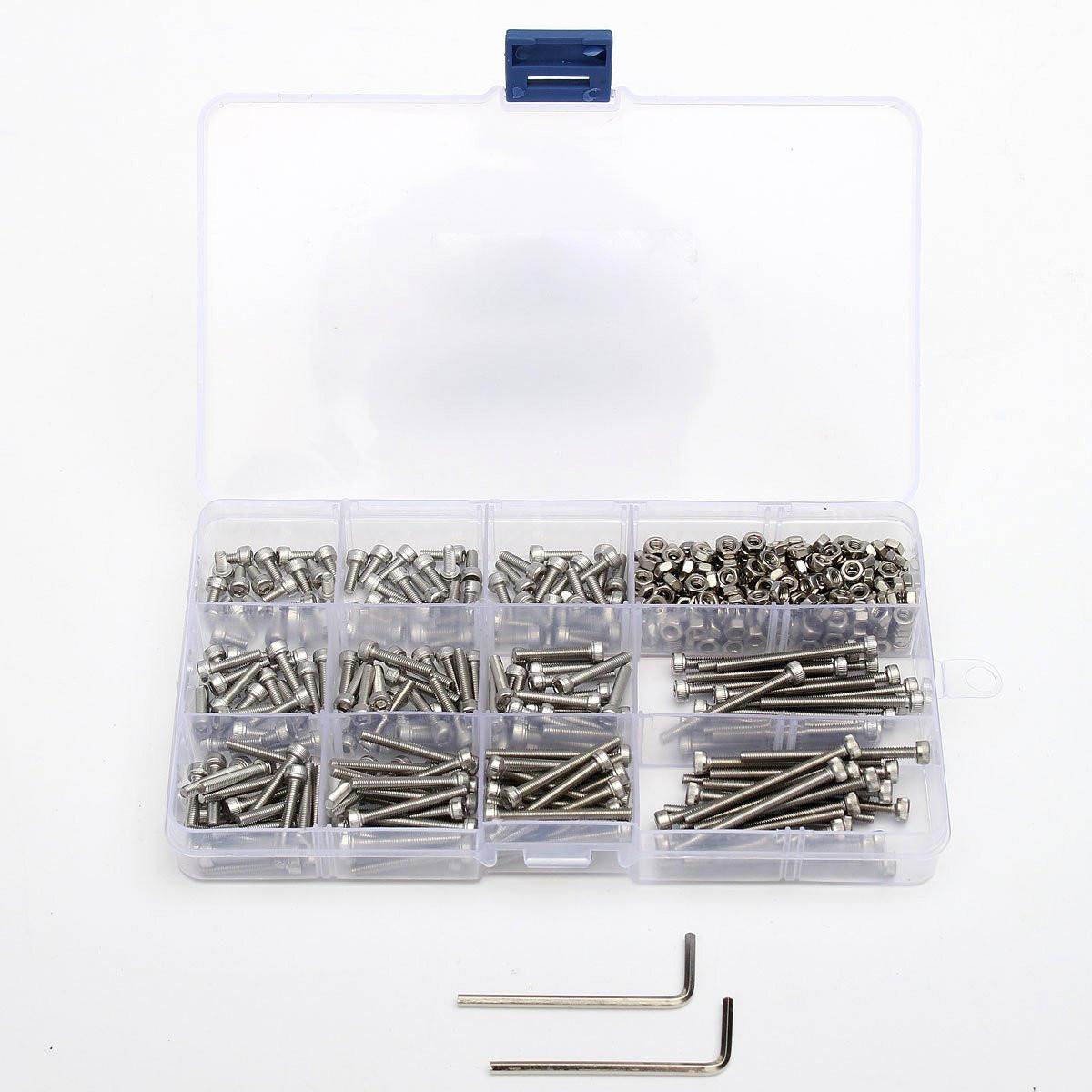 Suleve™ M3SS2 M3 442Pcs Stainless Steel Allen Bolt Nut Hex Socket Cap Screw Assortment Kit