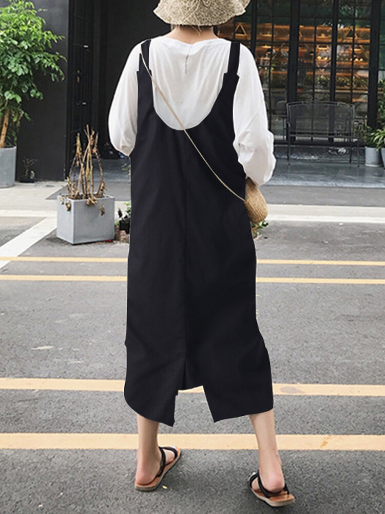 Women Sleeveless Strap Comfy Pure Color Loose Cotton Mid calf Dresses - 4