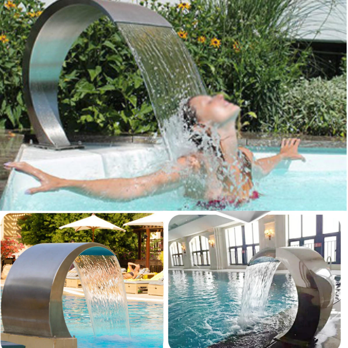 Stainless Steel Pool Fountain Swimming Pool Garden Water Feature Waterfall  Decorative Hardware