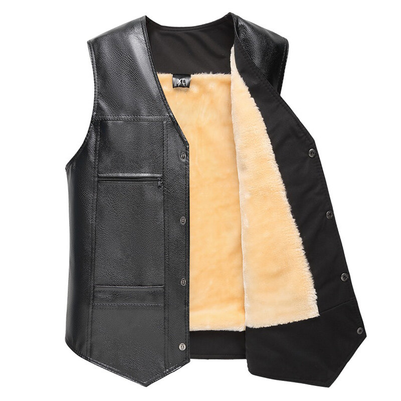 Mens Double Breasted Suit Collar Vest - 1