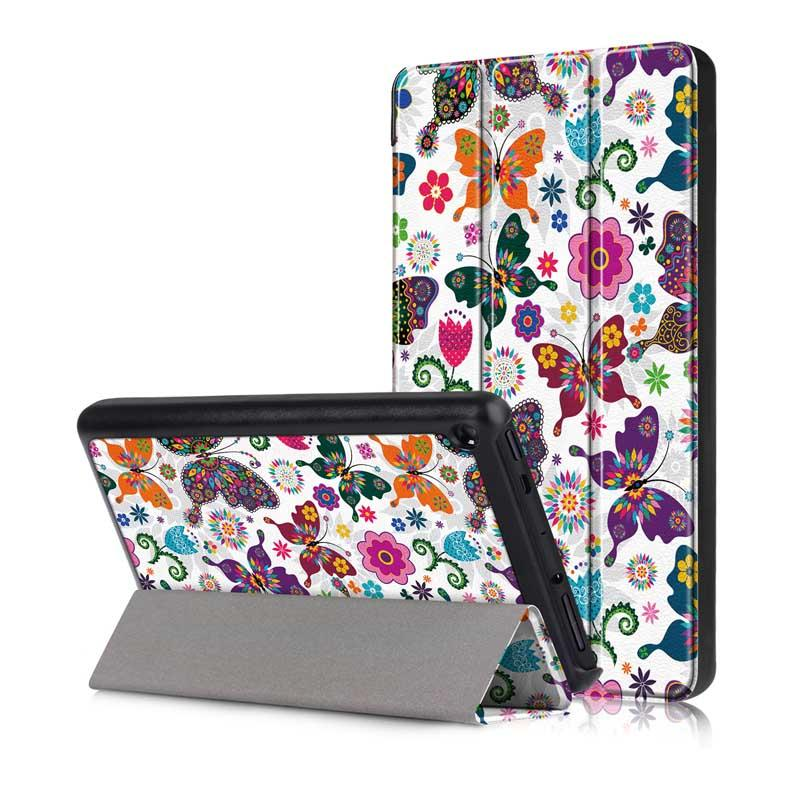 Tri Fold Pringting Tablet Case Cover for New F ire HD 7 2019 Butterfly - 1